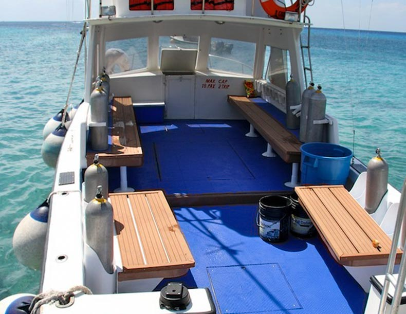 Marine decking on a dive boat